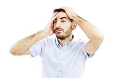 Homem com uma dor de cabeça Imagens de Stock Royalty Free