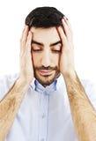 Homem com uma dor de cabeça Fotografia de Stock