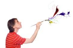 Homem com uma escova de pintura Foto de Stock Royalty Free