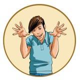 Homem com uma expressão intensa e as mãos levantadas Imagens de Stock