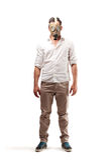 Homem com uma máscara de gás fotos de stock royalty free