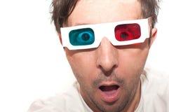 Homem com vidros 3D Fotografia de Stock Royalty Free