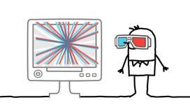 Homem com vidros 3D ilustração royalty free