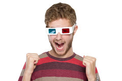 Homem com vidros 3D Foto de Stock Royalty Free