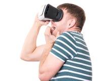Homem com vidros de VR Foto de Stock