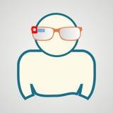 Homem com vidros espertos Tecnologia de comunicação Fotografia de Stock Royalty Free