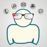 Homem com vidros espertos Tecnologia de comunicação Ilustração do vetor Fotos de Stock