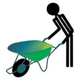 Homem com wheelbarrow Imagem de Stock Royalty Free