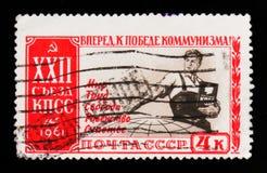 Homem comunista que oferece a paz, o trabalho, a liberdade, a igualdade e a felicidade, 2ò congresso do partido comunista da Uniã Imagem de Stock Royalty Free