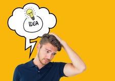 Homem confuso com bolha do pensamento do texto da ideia e da ampola Fotos de Stock Royalty Free