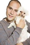 Homem considerável com cão Fotos de Stock Royalty Free