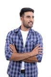 Homem considerável com expressões diferentes em um fundo branco fotos de stock