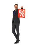 Homem considerável no terno com sinal de por cento Imagens de Stock Royalty Free