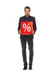 Homem considerável no terno com sinal de por cento Fotografia de Stock Royalty Free