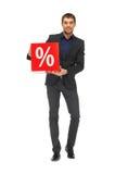 Homem considerável no terno com sinal de por cento Imagem de Stock Royalty Free