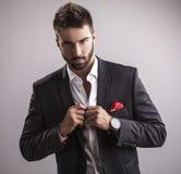Homem considerável novo elegante. Retrato da forma do estúdio. fotografia de stock royalty free