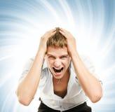Homem considerável novo gritando Imagens de Stock