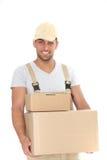 Homem considerável que entrega pacotes Foto de Stock Royalty Free
