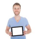 Homem considerável que indica a tabuleta de Digitas Fotos de Stock