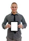 Homem considerável que mostra o PC da tabuleta da tela de toque fotografia de stock