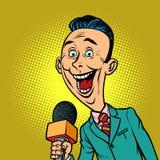 Homem correspondente do journalista do repórter alegre entusiástico ilustração do vetor