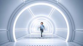 Homem corrido na sala virtual Meios mistos Foto de Stock Royalty Free