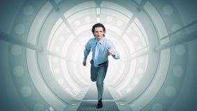 Homem corrido na sala virtual Meios mistos Fotografia de Stock Royalty Free