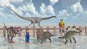 Homem, criança e dinossauros no jardim zoológico de trocas de carícias ilustração royalty free