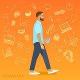 Homem criativo no fundo alaranjado, ícones do negócio Fotos de Stock