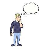 homem curioso do catoon com bolha do pensamento Foto de Stock
