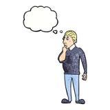 homem curioso do catoon com bolha do pensamento Imagens de Stock