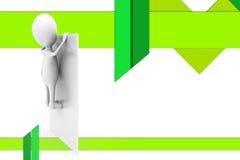 homem 3d atrás da ilustração da parede Imagem de Stock