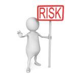 Homem 3d branco com a bandeira vermelha da palavra do RISCO Fotos de Stock Royalty Free