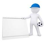 homem 3d branco com bola de futebol e calendário do desktop Fotos de Stock Royalty Free