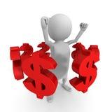 Homem 3d branco com muitos símbolos de moeda do dólar Sucesso de negócio Fotos de Stock