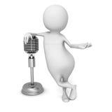 Homem 3d branco com o microfone retro do vintage Fotos de Stock