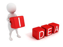 Homem 3d branco com os cubos vermelhos do texto da IDEIA do conceito Fotografia de Stock