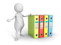 Homem 3d branco com pastas de anel coloridas do escritório Imagem de Stock