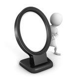 Homem 3d branco com quadro preto vazio da foto da imagem Foto de Stock