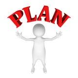 Homem 3d branco com texto vermelho da palavra do PLANO Imagens de Stock Royalty Free