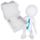 homem 3d branco com uma caixa aberta de uma pizza Fotografia de Stock