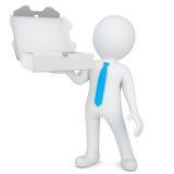 homem 3d branco com uma caixa aberta de uma pizza ilustração royalty free