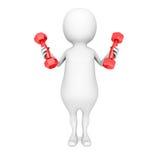 Homem 3d branco do esporte com pesos vermelhos Imagens de Stock