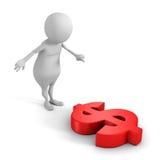 Homem 3d branco e sinal de moeda vermelho grande do dólar Foto de Stock