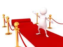Homem 3d branco no tapete vermelho Imagens de Stock Royalty Free