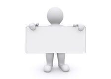 homem 3d branco que guarda a placa vazia no fundo branco Imagens de Stock