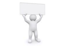 homem 3d branco que guarda a placa vazia no fundo branco Imagens de Stock Royalty Free
