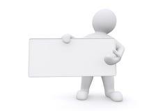 homem 3d branco que guarda a placa vazia no fundo branco Fotos de Stock Royalty Free