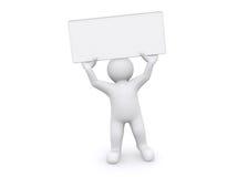 homem 3d branco que guarda a placa vazia no fundo branco Foto de Stock Royalty Free
