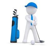 homem 3d branco que joga o golfe Fotografia de Stock